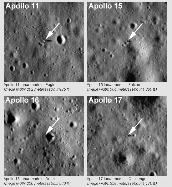 Pictures Of Moon Landing Sites. Apollo Landing Sights pictured
